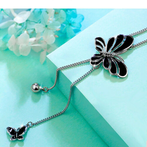 Chic Mariposa Cristal Colgante Collar Largo Cadena de Joyería Suéter De Borla N7