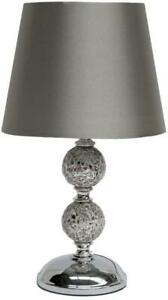 NEW Zoe Crackle Mosaic Table Lamp Silver