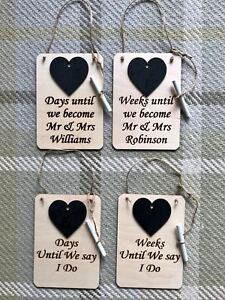 Details About Handmade Wedding Day Countdown Chalkboard Plaque Engagement Gift