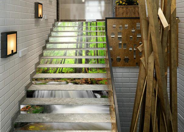3D Forest sun 357 Stair Risers Decoration Photo Mural Vinyl Decal Wallpaper UK