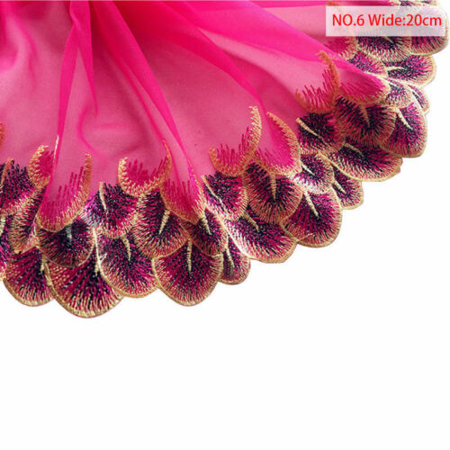 Colorful Flower Peacock Mesh Embroidered Lace Trimming Wedding Dress Applique MI