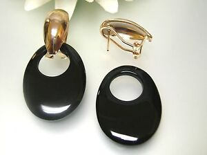 Vintage gold plated oval french clip-on //nature black agate oval charm drop ER