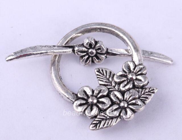 15sets Tibetan Antique silver Flower Circle toggle Clasp For Bracelets