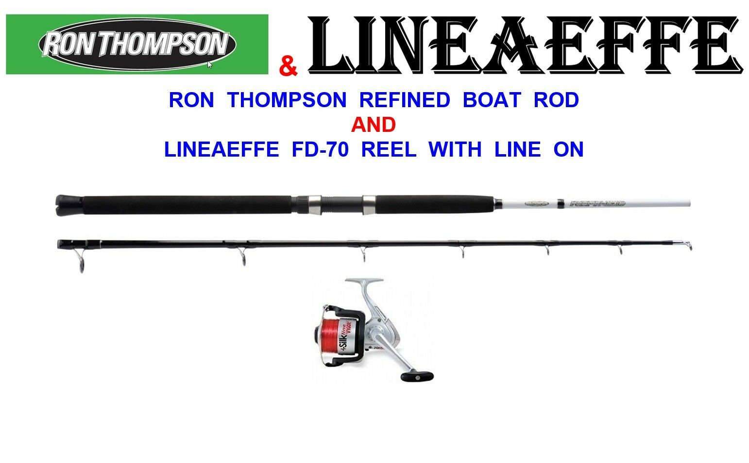 RON THOMSON 7ft BOAT ROD FD-70 REEL LINE SEA UPTIDE FISCHEREI