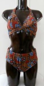 BNIP-Vintage-Early-1970-039-s-Brown-Polyamide-Floral-Bikini-Size-38-034-UK-14-Deadstock