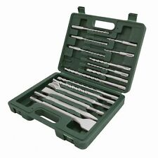 SDS + Masonry Drill & Steels Set - 15 Pieces In Total - Chisels Points Bits