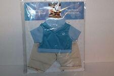 Pink Paws Clothing Set for Teddy Bear, Tan Pants/Blue Shirt, New