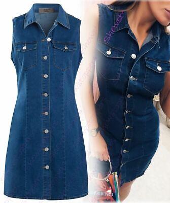 Womens Denim Dress Stretch Sleeveless Shirt Dresses Size 8 10 12 14 16 Blue | eBay