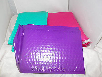 100 Hot Pink, Teal and Purple Bubble Mailers, 10 Each Padded Shipping Envelopes