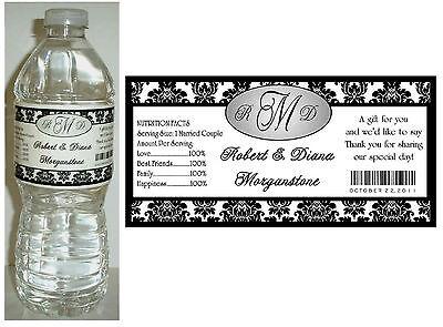50 BLACK DAMASK WEDDING WATER BOTTLE LABELS  Waterproof