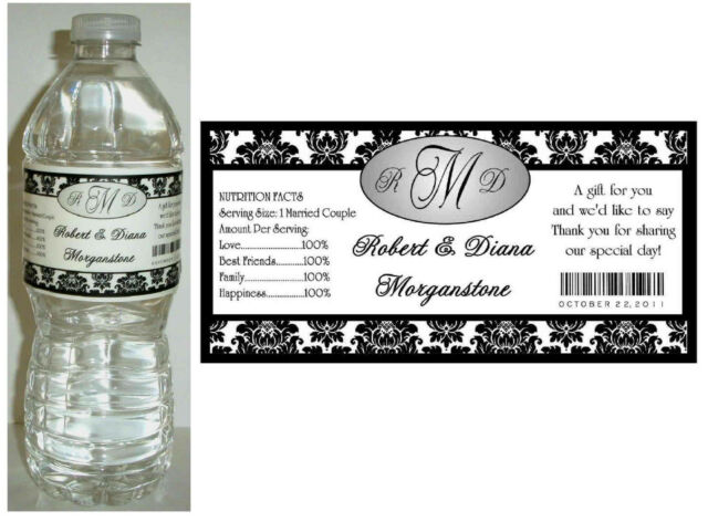 100 BLACK DAMASK WEDDING WATER BOTTLE LABELS  Waterproof