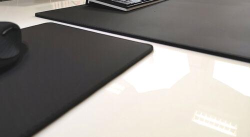 Gewinkelte Schreibtischunterlage Echt Leder Schwarz 60x38 mit Mauspad Rindsleder