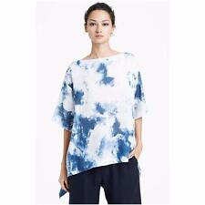Eskandar Size 0 1x 2x Blue/White Abstract Linen Top w/ Asymmetrical Hem