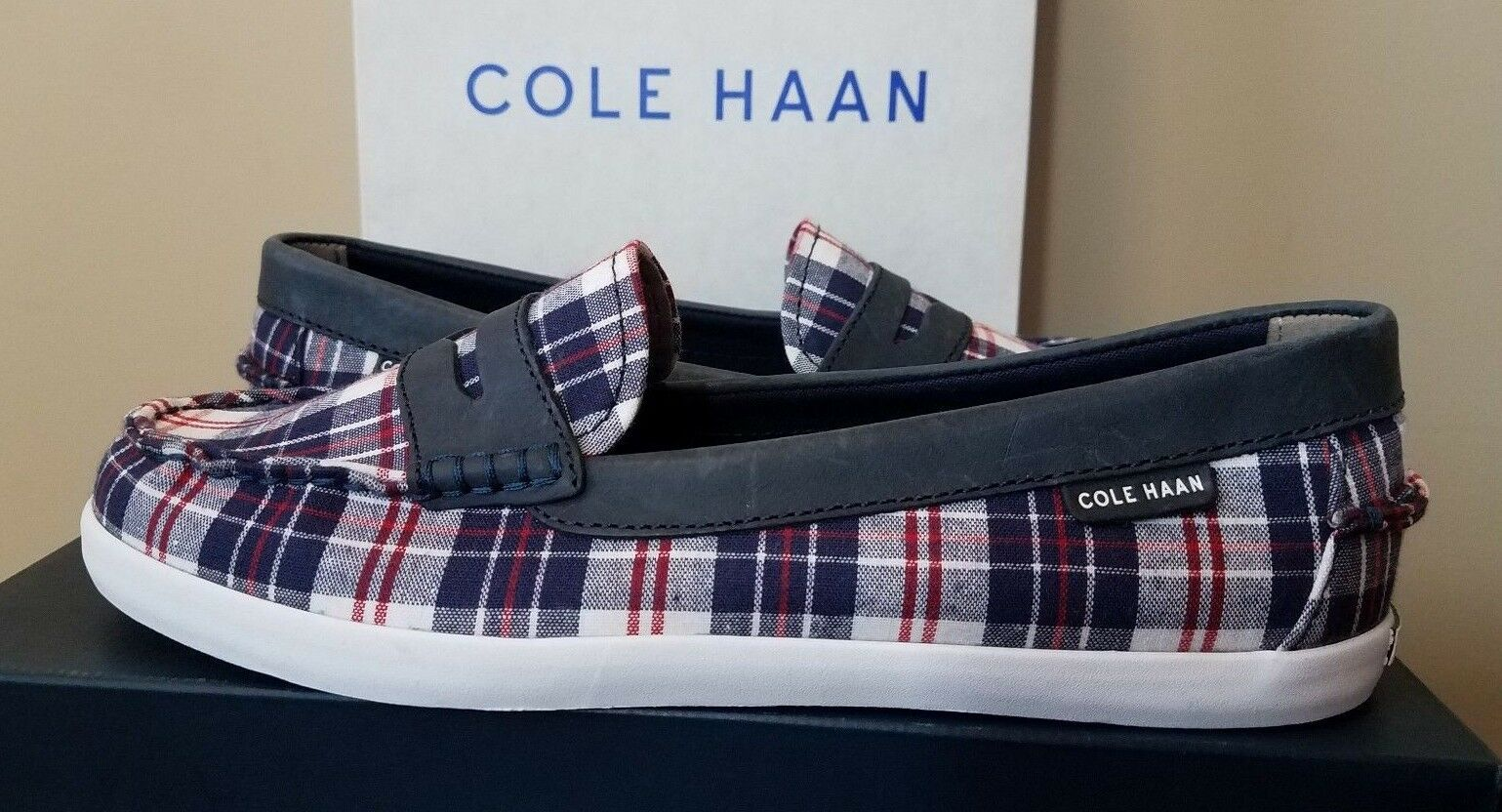Damenschuhe Cole Haan Nantucket Loafer II Schuhe Farbes ROT/Blau Plaid NEW