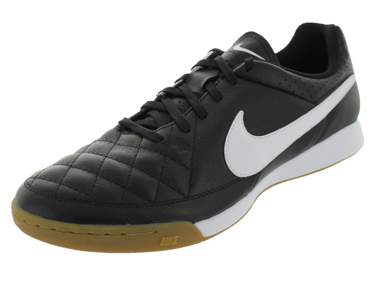 New Nike Men's Tiempo Genio Leather IC Indoor Soccer shoes Black White 631283_010
