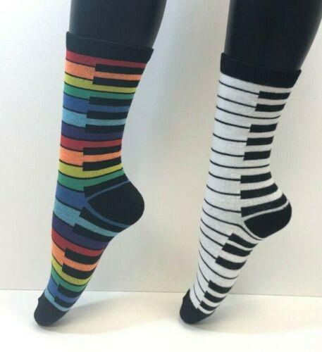 NEW 2 PAIRS Foozys Women/'s Socks PIANO Black//White Multi Color