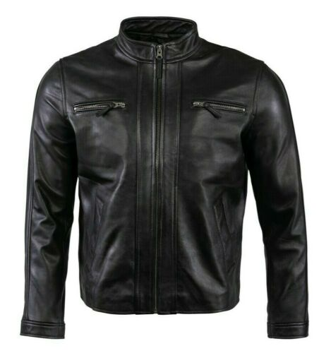 Men Genuine Real Leather Jacket Slim Fit Vintage Biker Jacket Black Moto New