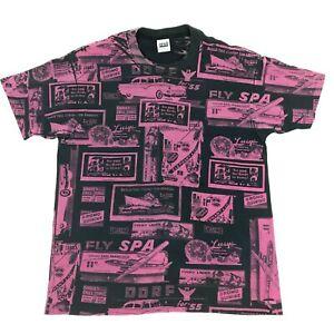 Vtg-Anvil-SINGLE-STITCH-All-Over-Print-Shirt-1950s-Advertisement-55-Chevy-XL-USA