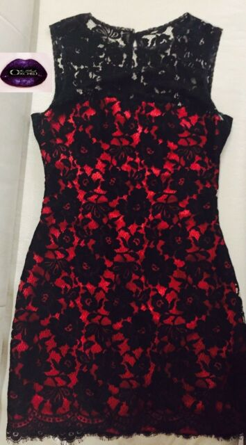 4115b710 💜DOLCE & GABBANA💜 40 / 6 RED SILK BLACK FLORAL LACE DRESS Cocktail Party