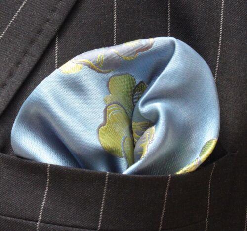 Pañuelo Bolsillo Cuadrado Pañuelo Azul Y Verde pensamiento Floral Metálico