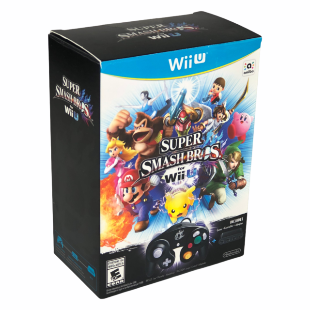 Nintendo Wii U Super Smash Bros Bundle Game Controller Adapter Open Box