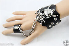 New Punk Rock Gothic Hot Style Cosplay Leather Bracelet w/Ring Skulls Wristband