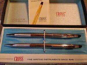 Vintage-Cross-Lustrous-Chrome-3501-Ball-Pen-Pencil-Set-w-Box-Ford-Glass-Emblem