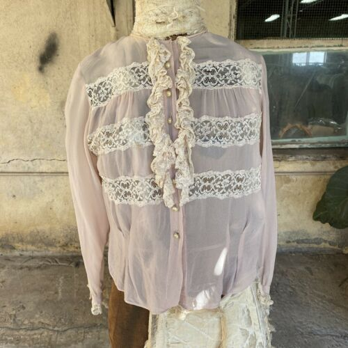 Antique 1930s Sheer Pink Silk Blouse Lace Ruffles