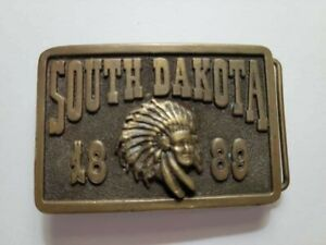 Vintage SOUTH DAKOTA Rectangular Belt Buckle 1889 Indian Chief Adezy Denver