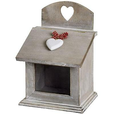 HEART WOODEN BOX GREY SHABBY CHIC IDEAL KITCHEN STORAGE KITCH GIFT GINGHAM BOW