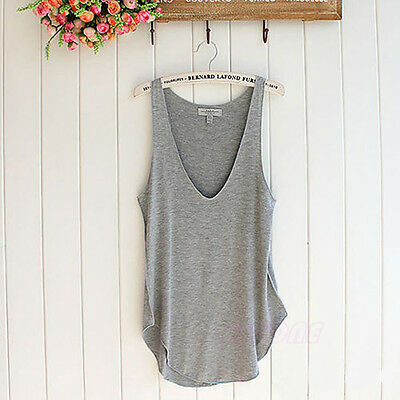 Fashion Sexy Soft Womens V-Neck Vest Summer Loose Sleeveless Tank T-Shirt Tops