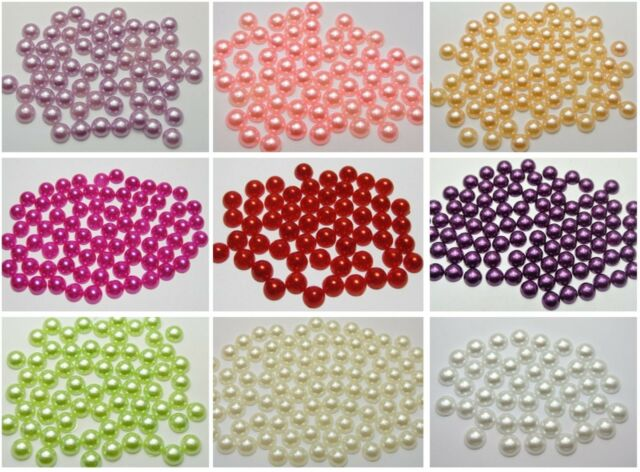 500 Half Pearl Bead Flat Back 8mm Scrapbook Craft FlatBack Pick Your Color
