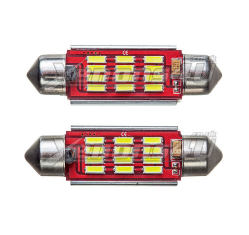 2x 42-44mm 12 SMD 4014 LED Canbus Error Free Festoon Interior Light Bulbs