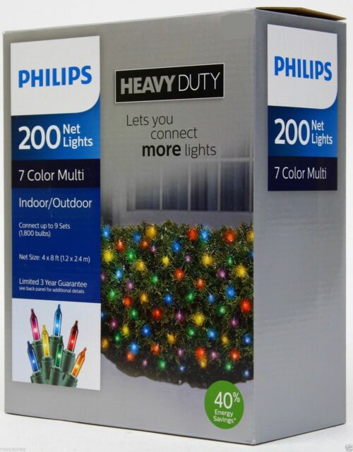 Philips heavy duty 4x8 200 net lights 7 color multi indooroutdoor philips heavy duty 4x8 200 net christmas lights multi indooroutdoor 32 aloadofball Choice Image