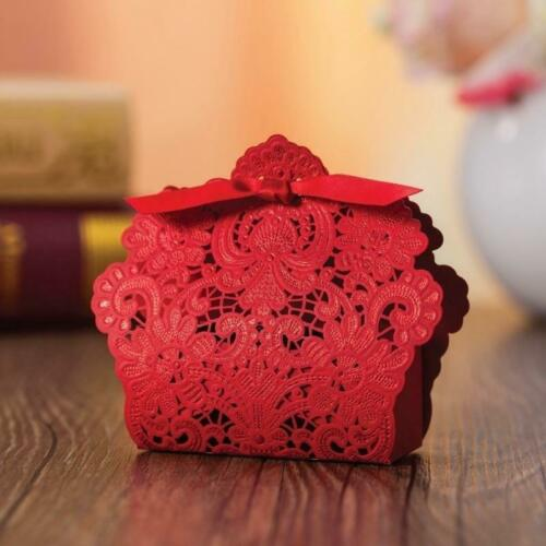 25PCS Rose Laser Cut Candy Gift Favor Boxes /& Ribbon Wedding Party Favours Hot