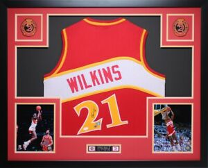 Dominique Wilkins Autographed and Framed Red Hawks Jersey JSA COA (D1-L)