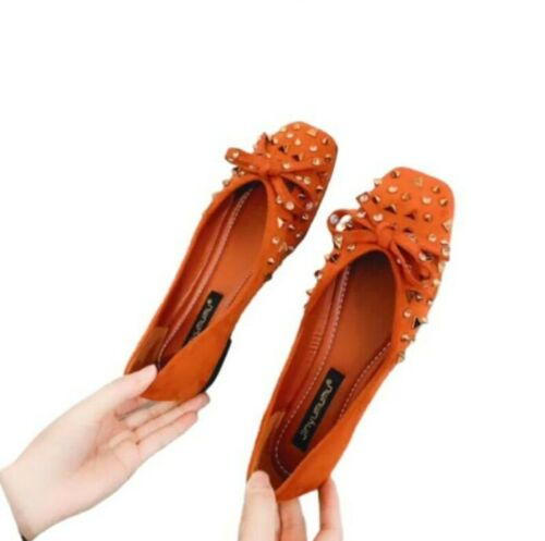 Women Slip On Flats Rhinestone Loafer Bowknot Platform Rivet Spring Chic Shoes D