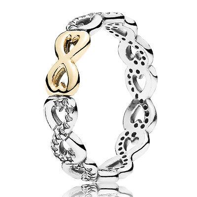 PANDORA Ring 190948 CZ Infinity Unendliche Liebe Silber Gold