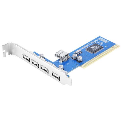 USB2.0 5 Ports PCI Controller Card PCI to Internal and External USB 2.0 Hub