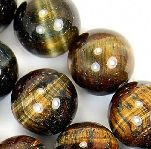 12mm Yellow Blue Tiger Eye Round Beads 15.5""