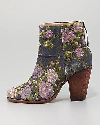 NIB $550 RAG & BONE Blue Classic Newbury Floral Suede Ankle Bootie 9 US/39.5EU