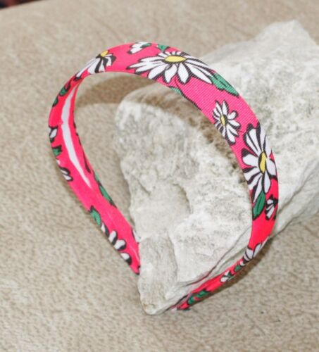 Grosgrain Flat Fitted Pink /& White Daisy Print Headband