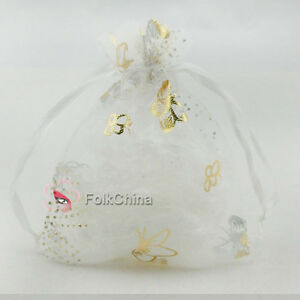 Gold-Butterfly-White-Organza-Wedding-Favour-Gift-Bags-Pouch-7x9cm-9x12cm-13x17cm