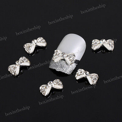 10x 3D Alloy Rhinestones Bow Tie Crown Pearl Nail Art Glitters DIY Decorations ⑦