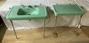 Vtg Jadeite Ming Green Console Sink Side Table Chrome legs Towel Bars 599-20E