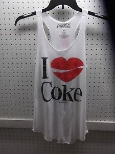 8e565dbdd6b5e4 Coca-Cola Jr. X-Small White I LOVE (Heart) COKE Novelty Tank Top ...