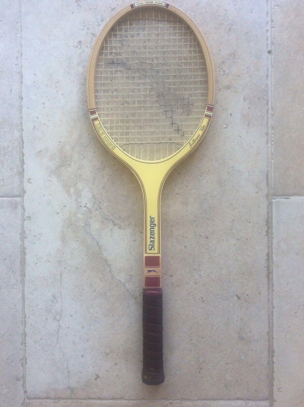 Vintage c1980 Slazenger Guillermo Vilas Raquette de tennis Maple Ash SilberNE BOIS