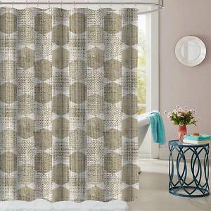 Image Is Loading Monaco Taupe Geometric Pattern Fabric Bathroom Shower Curtain