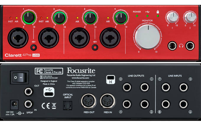 Focusrite Clarett 4Pre USB Audio Recording Interface w 4 Mic Pre amp   ARMENS