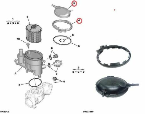 lid Citroen Xsara Berlingo Peugeot 206 306 1.9D DW8 fuel filter housing clamp
